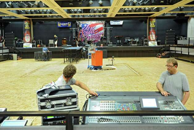 Sound checks are performed on the Convention Center's stage for the The New York State Food Festival concerts at the Empire State Plaza on Wednesday, Aug. 13, 2014, in Albany, N.Y. (Lori Van Buren / Times Union) Photo: Lori Van Buren / 00027123A