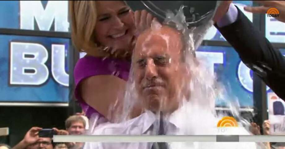 """Today Show"" host Matt Laurer joins in on the ice bucket challenge by getting ice water dumped on his head by Savannah Guthrie and Carson Daly. Photo: Molina, Maribel, Maribel Molina"