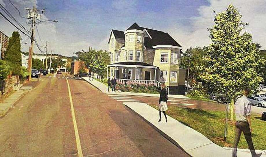 An architect's rendering of the Kemper-Gunn House at the Elm Street site where it will be moved under a newly approved lease. Photo: File Photo / Westport News