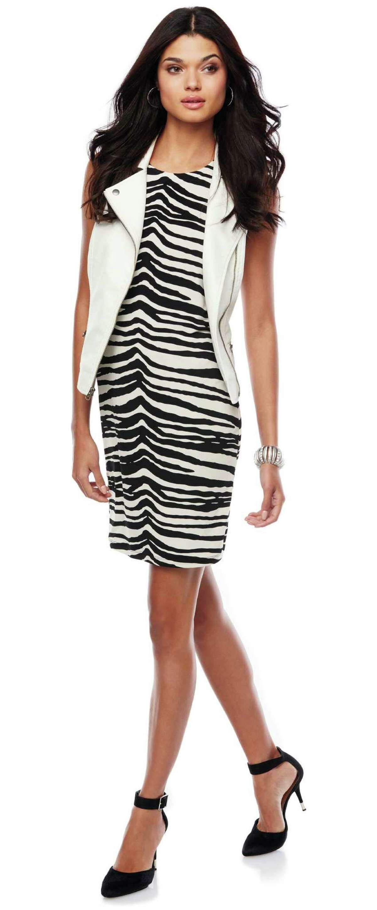Back-to-school style is all about having fun, as in this Jennifer Lopez-brand look: a zebra-print dress worn with an oversized vest from Kohl's.