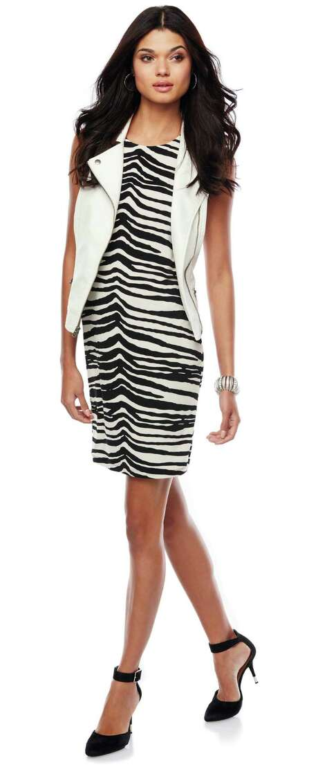Back-to-school style is all about having fun, as in this Jennifer Lopez-brand look: a zebra-print dress worn with an oversized vest from Kohl's. Photo: Kohl's / San Antonio Express-News