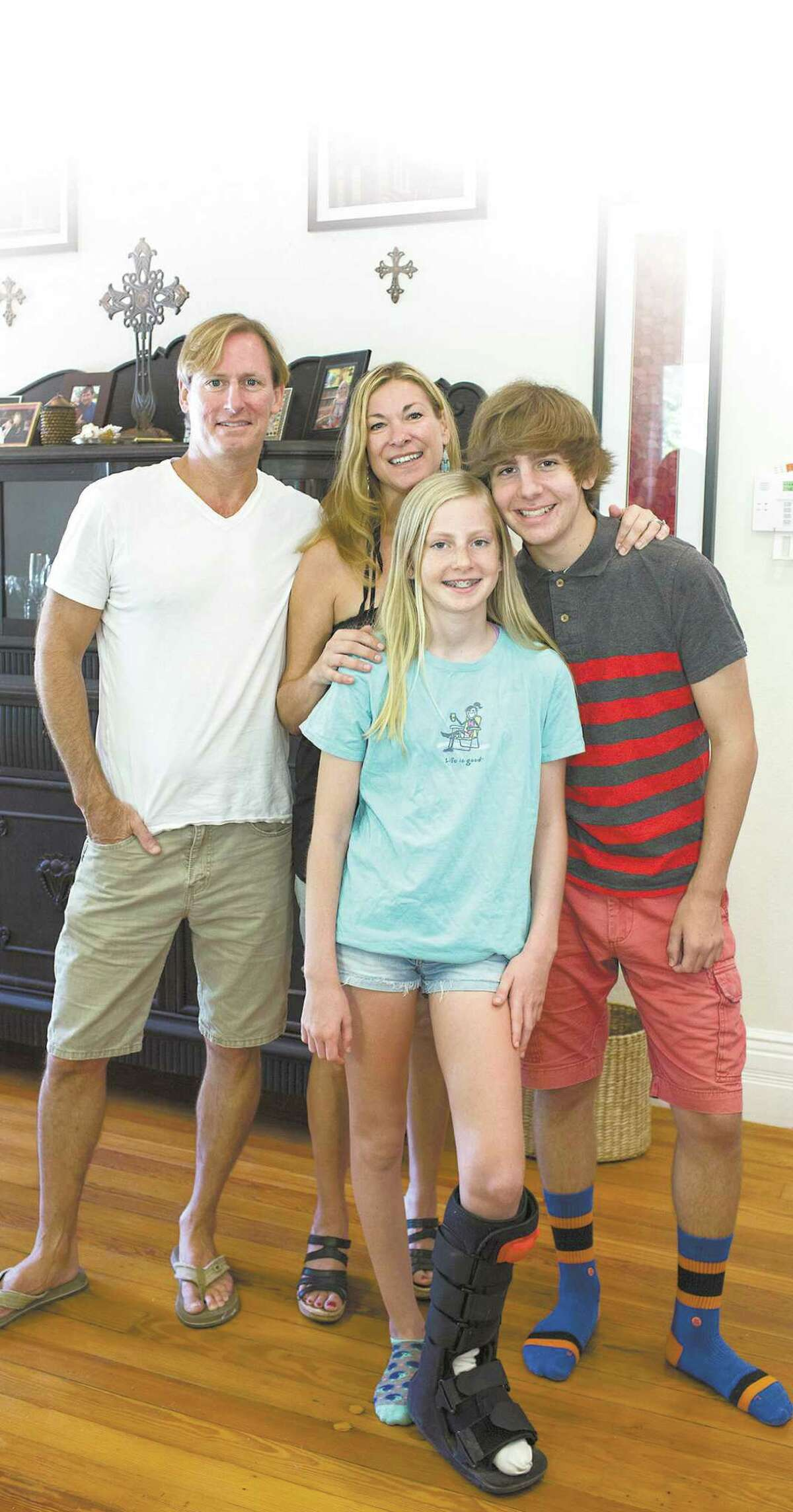 Russell and Margo Prevost with Russell's children, Mariel, 12, and Mason, 15, in their King William home.