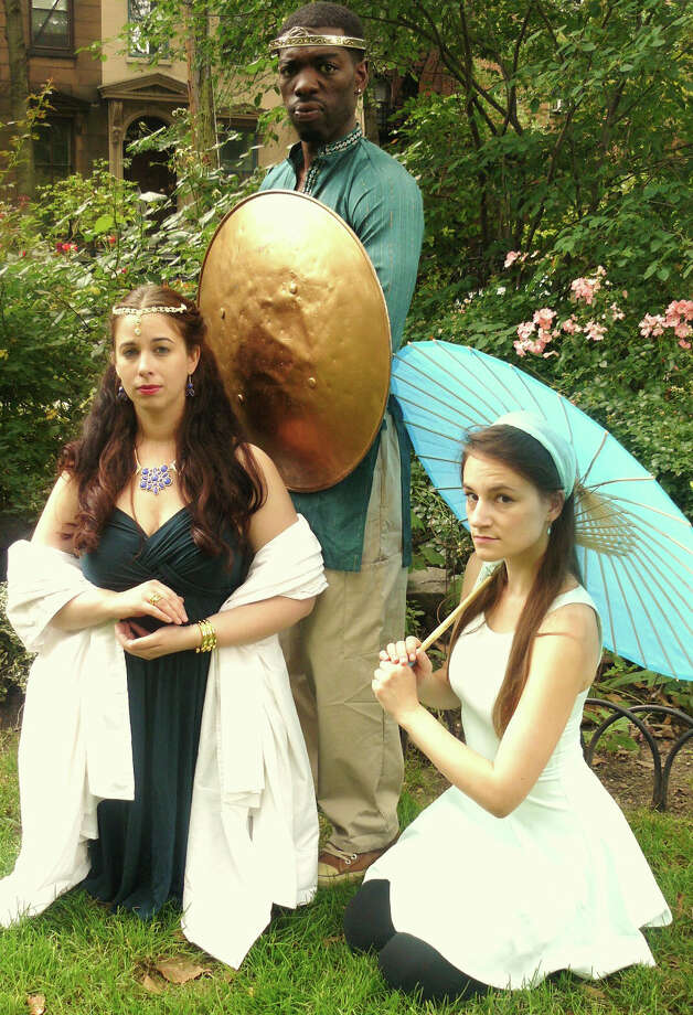 King Pericles of Tyre (Lawrence James) goes on a road trip through far flung Mediterranean locales to reunite with his wife Thaisa (Lisa LaGrande, left) and Marina (Morgan Patton) in Hudson Shakepseare Companyís production of ìPericlesî at the Stratford Library on Saturday, August 23. Photo: Contributed Photo / Connecticut Post Contributed