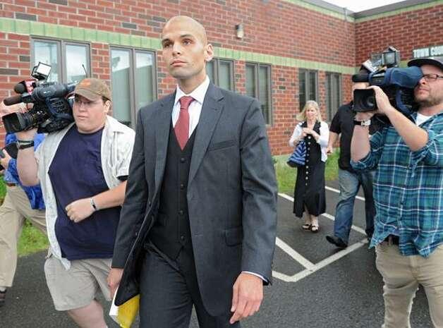 Rev. James Michael Taylor leaves Clifton Park Court after pleading guilty to misdemeanor endangerment. (Lori Van Buren/Times Unon)