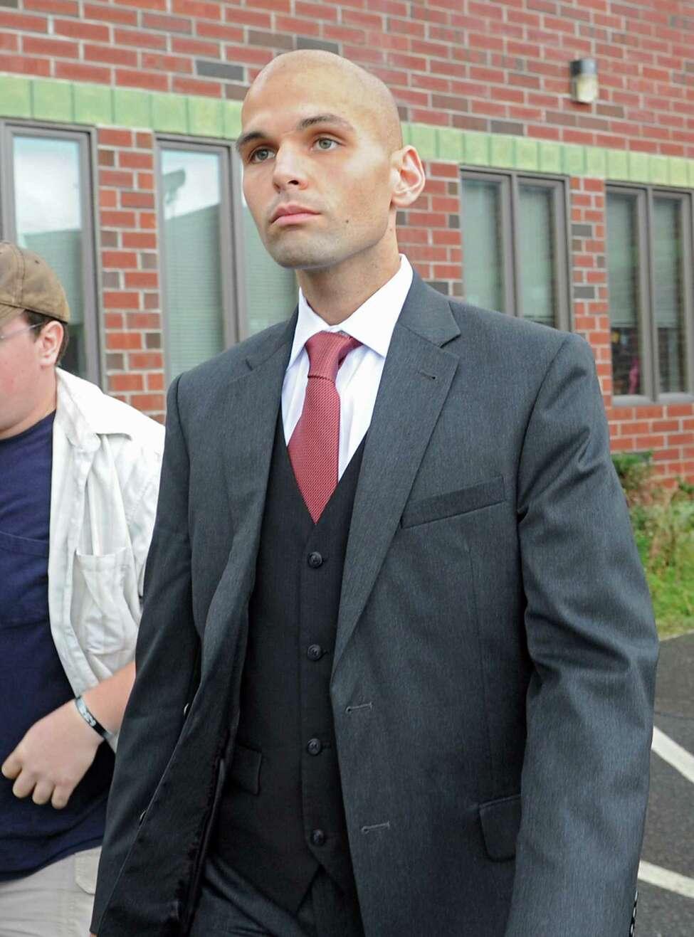 Rev. James Michael Taylor leaves Clifton Park Town Court on Wednesday, Aug. 13, 2014 in Clifton Park, N.Y. (Lori Van Buren / Times Union)