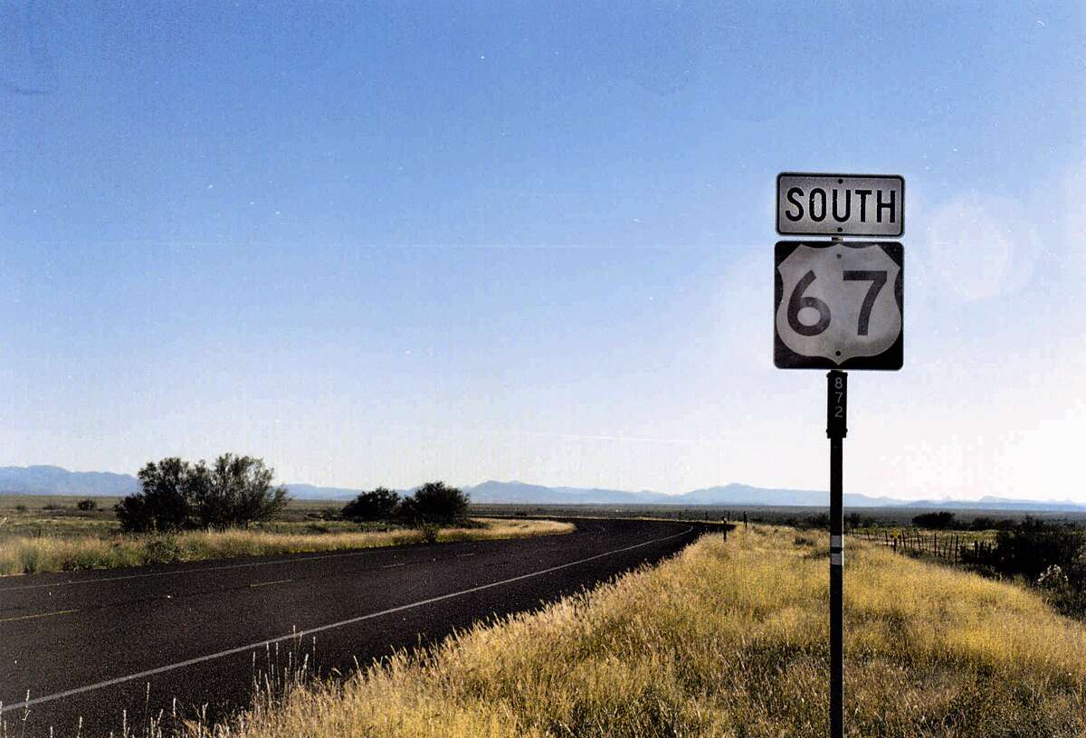 Highway 67 breaks free of the oil fields and the interstate ten miles west of Fort Stockton and begins a long, lovely climb to Alpine and the Big Bend country.