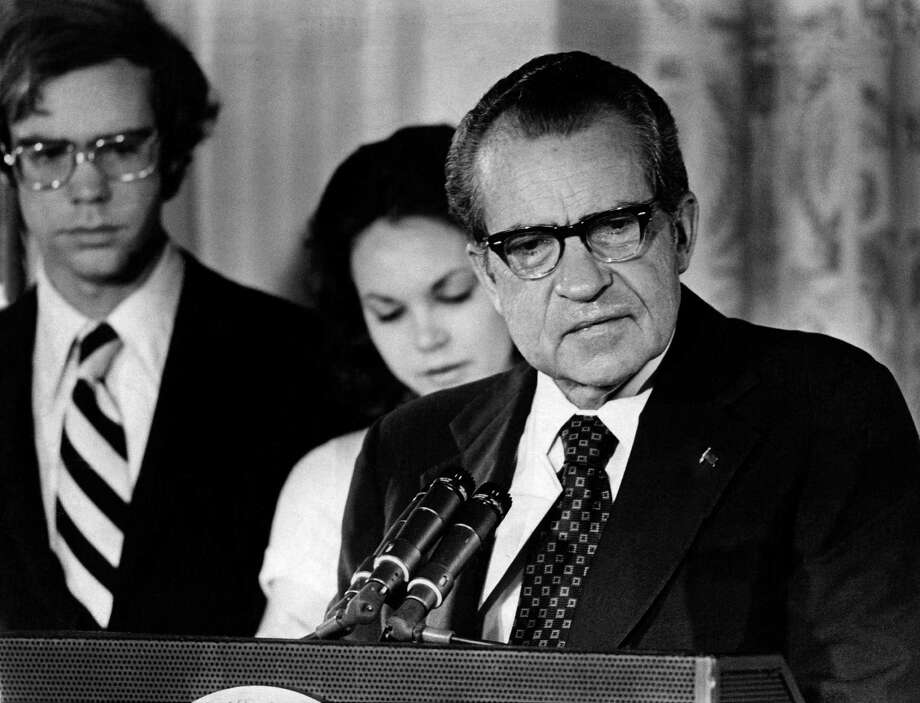 President Richard M. Nixon says goodbye to his Cabinet and staff at the White House on Aug. 9, 1974. Criticizing an editorial on the 40th anniversary of the resignation, a reader says some current politicians are just as corrupt. Photo: New York Times File Photo / NYTHA