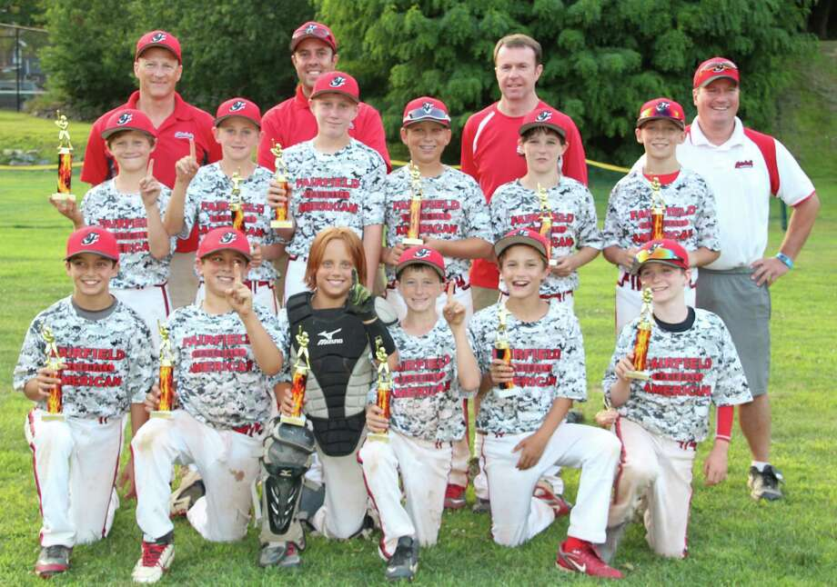 Fairfield American Little League's tournament team for 11 year olds won the Cal Ripken Summer Xtreme League championship in the 11B division at Gould Manor on July 30, beating Newtown 11-3. Top row, from left: manager Tim Boyle, coaches Mark Hernandez, Bill Kelleher and Todd Flanagan. Middle row, from left: Hunter Vogel, Rowan Sullivan, Sean Seiler, Chris Domizio, James Mockler and Hunter Flanagan. Bottom row, from left:  Zach Masi, Jack Hernandez, Trevor Knisely, Griffin Boyle, Alex Vlandis and Matt Kelleher. Photo: Contributed Photo / Fairfield Citizen