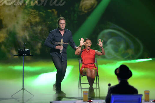 AMERICA'S GOT TALENT -- Episode 914 -- Pictured: (l-r) Mike Super, Mel B -- (Photo by: Virginia Sherwood/NBC) Photo: NBC, Virginia Sherwood/NBC / 2014 NBCUniversal Media, LLC.
