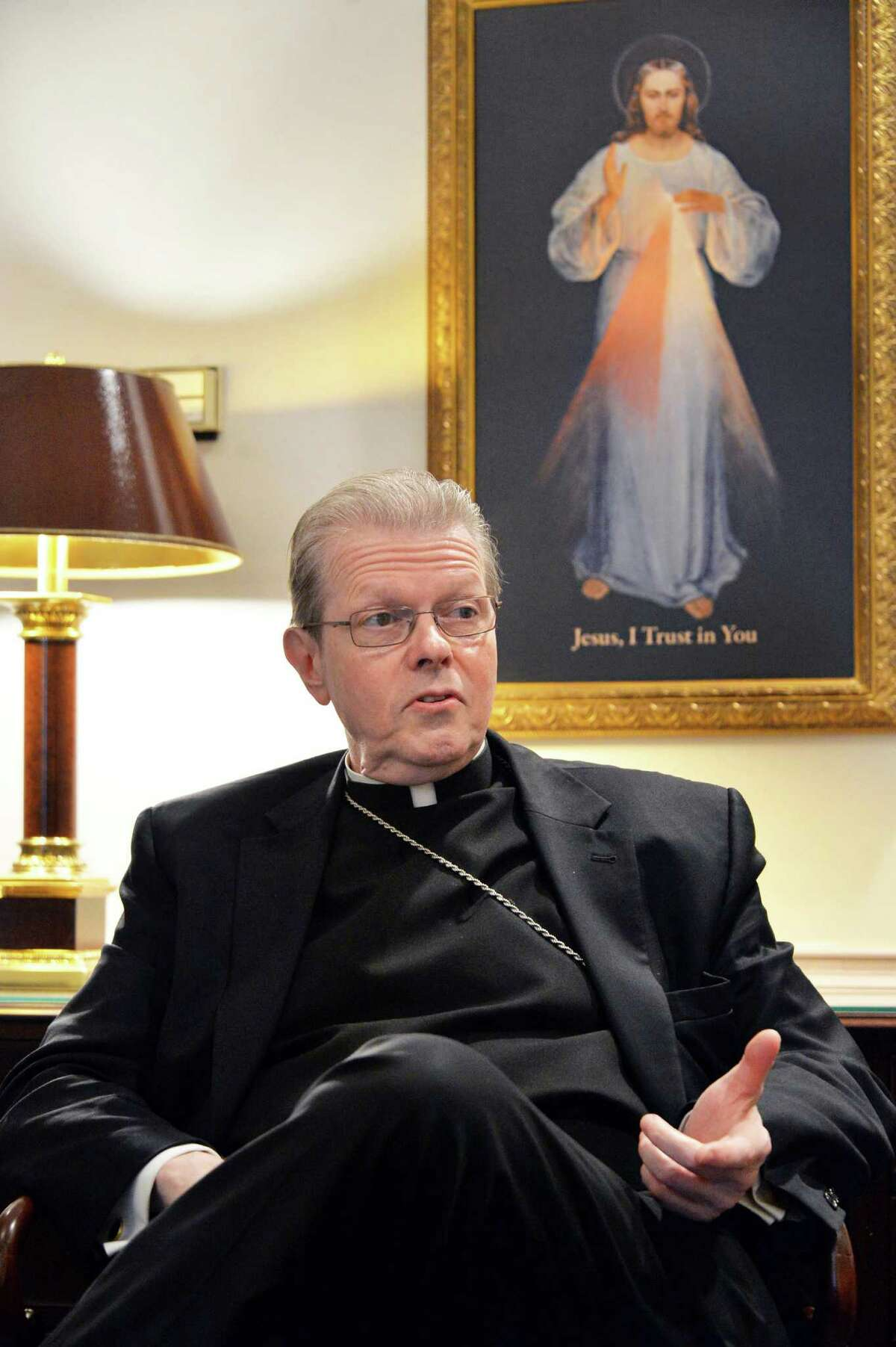 Bishop Edward Scharfenberger reflects on his first few months as bishop of the Albany Roman Catholic diocese Thursday July 31, 2014, at his office in Albany, NY. (John Carl D'Annibale / Times Union)