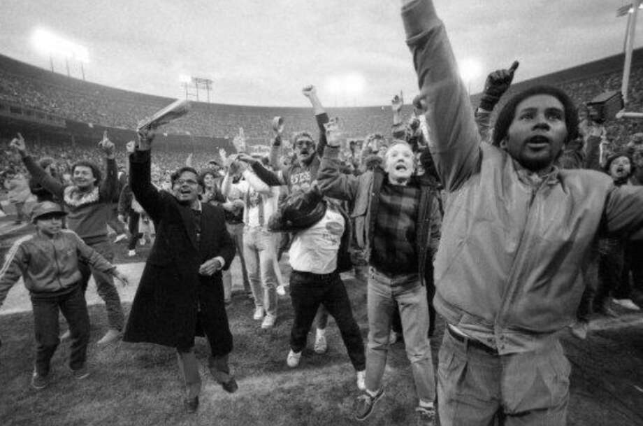 4. FANS RUSHING THE FIELD: Not at every game -- not even once a year. But when the time is right (such as this 1985 win over the Bears), I think it's OK for the fans to show their love with a spontaneous celebration on the field. Photo: Fred Larson, The Chronicle