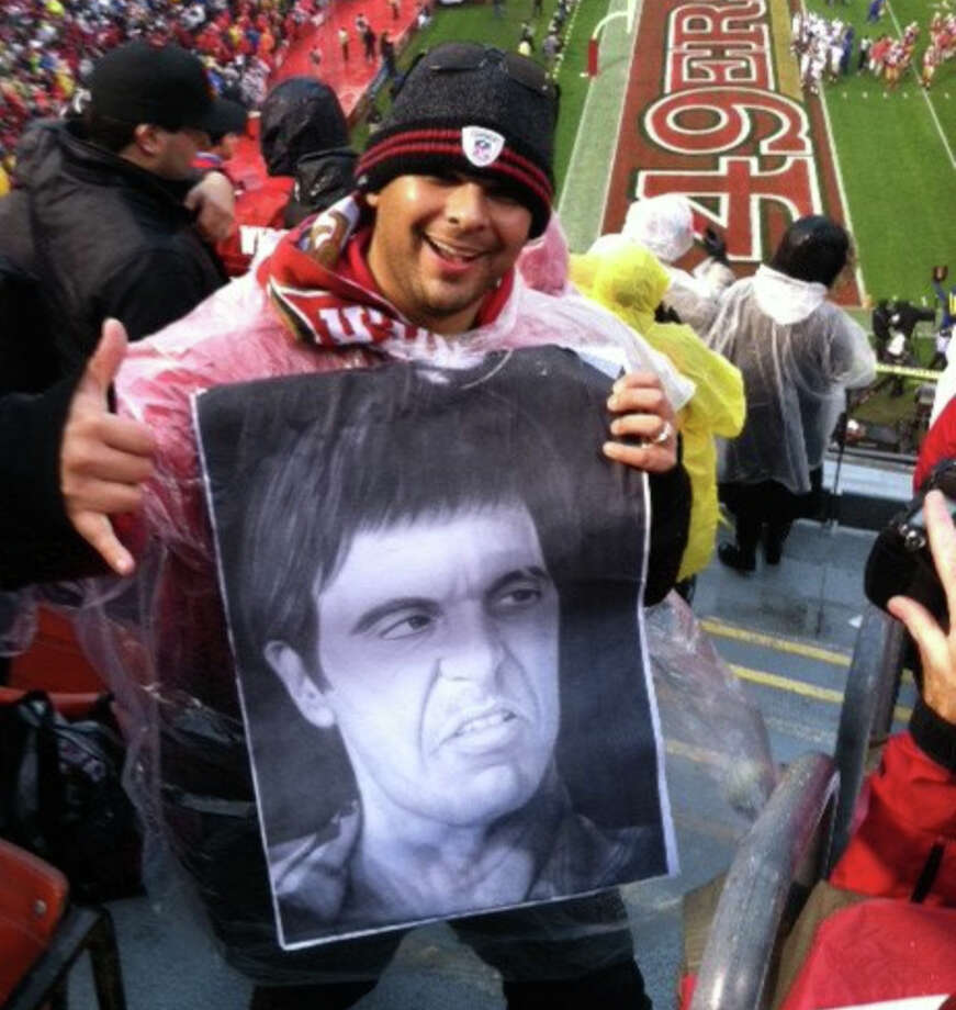 "12. THAT TONY MONTANA THING DURING KICKOFFS: It took me a while to get on board with the ""Tony Montana"" pre-kickoff chant, but I came around after seeing this guy bring excellent homemade Pacino art to the game. Photo: Peter Hartlaub, The Chronicle"