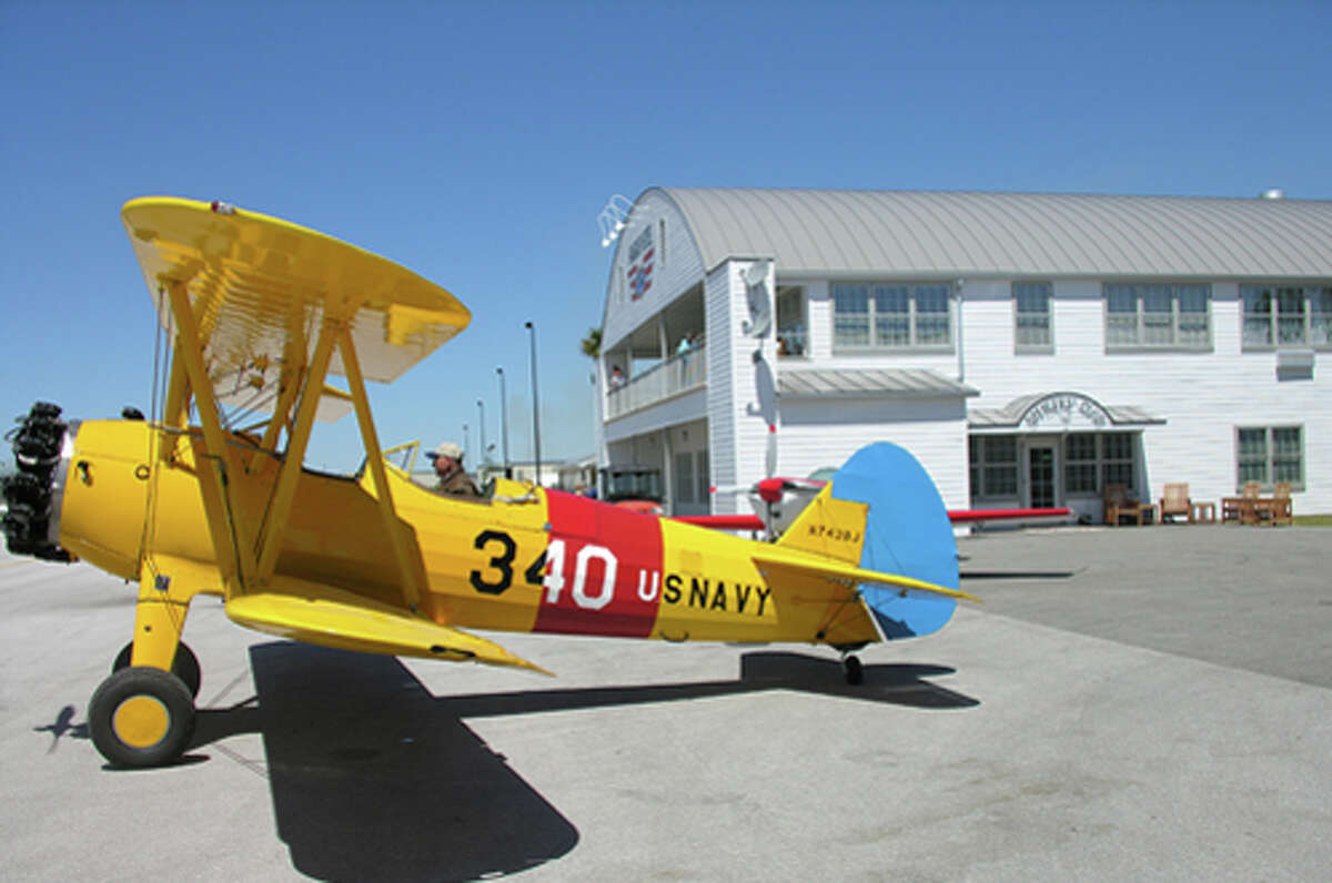 A Stearman on the tarmac.