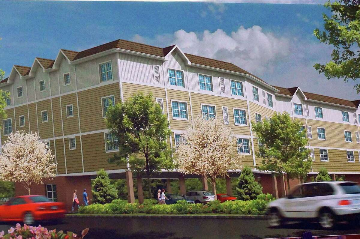 A rendering of the 33-unit apartment complex proposed for the end of Fairchild and Berwick avenues. The plan met with neighborhood opposition, and it was unanimously rejected Tuesday night by the Town Plan and Zoning Commission.