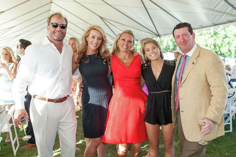 Tom Newton, Suzanne Hansen, Lisa Newton, Reagan Newton and Steve Goldenberg at the Menlo Charity Horse Show in Atherton on August 8, 2014. Photo: Drew Altizer Photography/SFWIRE, Drew Altizer Photography / © Drew Altizer Photography 2014
