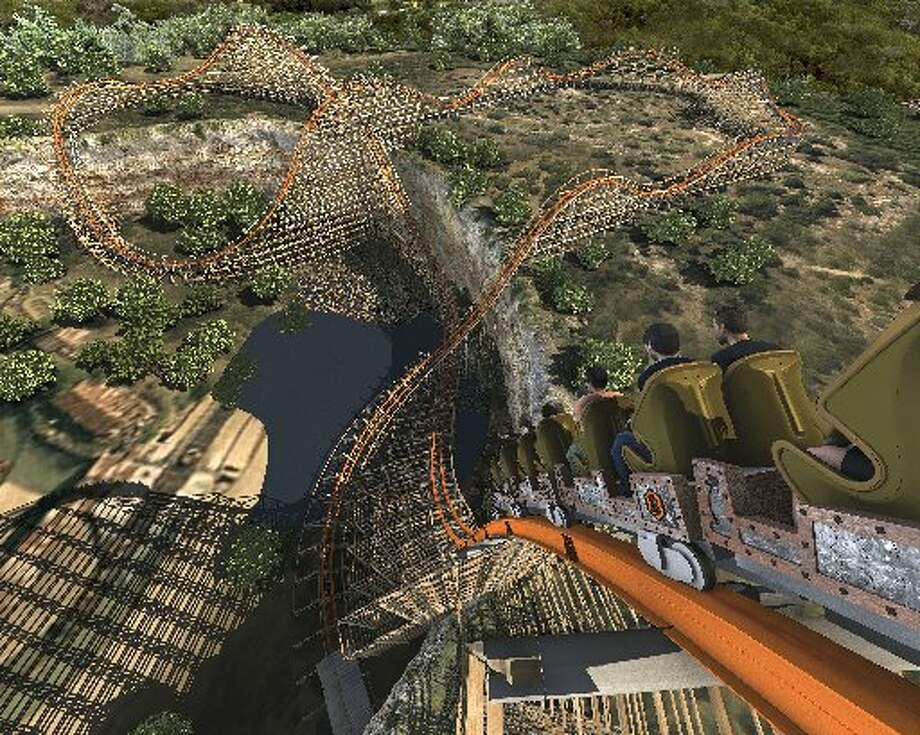 Artist's rendering of the Iron Rattler at Six Flags Fiesta Texas will look like once the modern track and rails have been added to the wooden structure of the original Rattler. Photo: Courtesy Image.