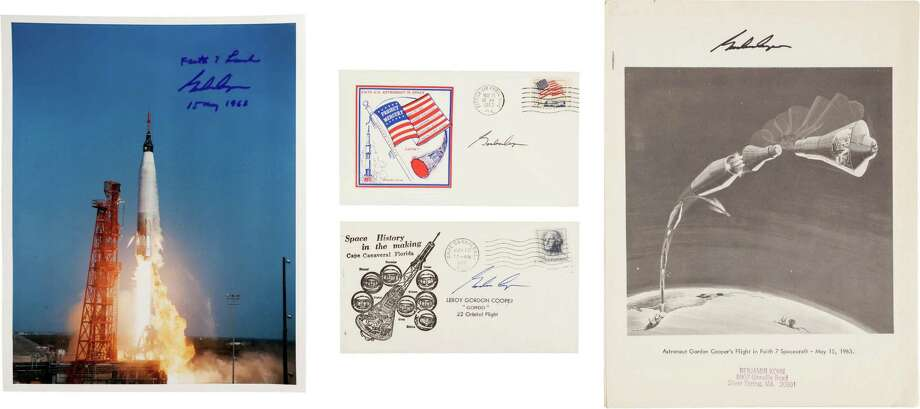 """Mercury-Atlas 9 (Faith 7): Four Signed Items.America's sixth manned space flight, the last in the Mercury series. As follows:(1)Color semi-gloss 8"""" x 10"""" color photo of his Mercury launch. Signed: """"Faith 7 Launch/ Gordon Cooper/ 15 May 1963"""". Excellent condition.(2)Staple-bound 8.5"""" x 11"""" booklet """"Astronaut Gordon Cooper's Flight in Faith 7 Spacecraft - May 15, 1963"""" consisting of fifteen full page B&W printed and captioned photos tracing the mission, start to finish. Signed on the cover: """"Gordon Cooper"""". Very good condition.(3) Photo: Heritage Auctions"""