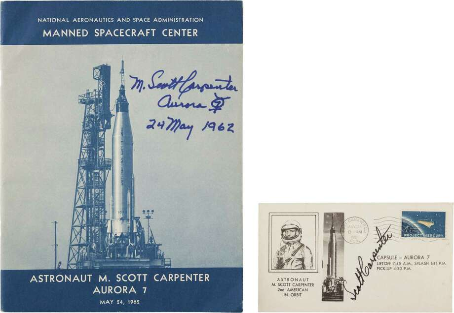 "Mercury-Atlas 7 (Aurora 7): Two Signed Items. America's fourth manned space flight. As follows:(1) A 1962-dated NASA Manned Spacecraft Center publication titled ""Astronaut M. Scott Carpenter Aurora 7"". Forty pages, 7.75"" x 10.25"", heavily illustrated giving the complete story of the mission. Signed on the front cover: ""M. Scott Carpenter/ Aurora 7 [symbol drawn]/ 24 May 1962"".(2) Launch cover with Cape Canaveral cancellation dated May 24, 1962, on a ""Project Mercury"" 4¢ stamp. Printed portrait cachet with flight information. Signed: ""Scott Carpenter""."