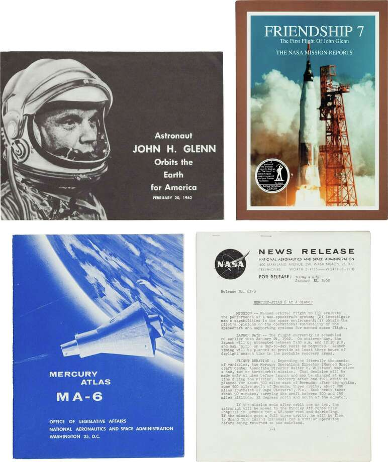 Mercury-Atlas 6 (Friendship 7): Mission Report and Various Literature. Various NASA produced publications as follows:(1) Friendship 7 The First Flight of John Glenn - The NASA Mission Reports. Apogee Books, 1999. 208 pages. Illustrated. Publisher's pictorial wrappers. Fine.(2) Astronaut John Glenn Orbits the Earth for America, February 20, 1962. Government Printing Office, [1962]. 8 pages, brochure format, illustrated. Very good condition.(3)