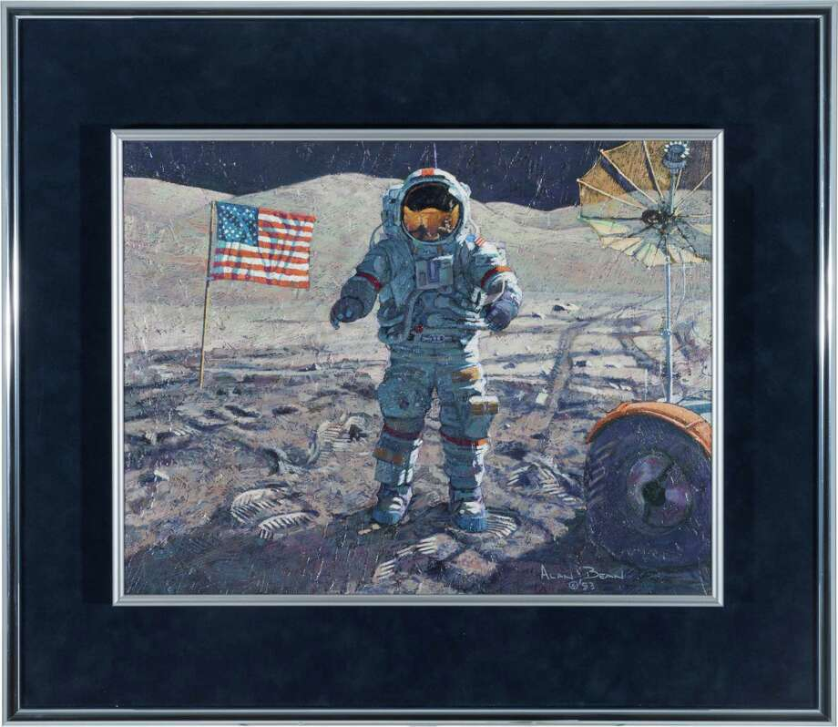 "Alan Bean Original 1993 Painting ""Cernan And His Rover,"" Textured Acrylic on Masonite. An awesome and dramatic original painting by moon walker Alan Bean; you may have seen this on display at the Cosmosphere in recent years. The painting is 18"" x 14"" and is elaborately framed, museum quality, to an overall 25"" x 22"". The image is of Gene Cernan standing on the moon between the U.S. flag and the Lunar Rover. Bean explains the background in a plaque on the verso, in full: ""Apollo Astronaut Eugene Cernan seems to be enjoying the view. And, what a view it is, with magnificent towering mountains in every direction. Gene and his pal Jack Schmitt landed in the Taurus-Littrow Valley yesterday and are in the middle of a tightly packed 3-day exploration.  Photo: Heritage Auctions"