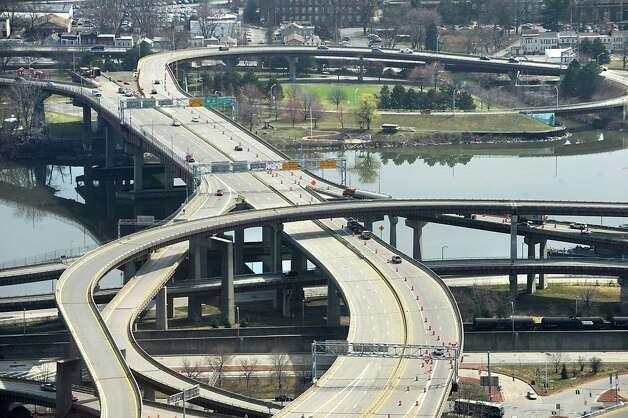 Construction is underway on the Dunn Memorial Bridge connecting Albany and Rensselaer, N.Y. on March 19, 2012. Cones are seen closing down one lane of the bridge. (Lori Van Buren / Times Union) Photo: Lori Van Buren