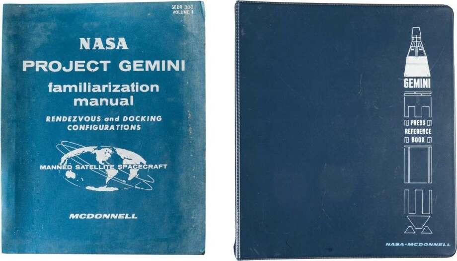 "Gemini Program: Two Original NASA-McDonnell ManualsIncluding:(1) Gemini Press Reference Book. Produced by McDonnell, no date. 91 8.5"" x 11"" three-hole punched pages with tab dividers in a 10"" x 11.5"" three-ring Gemini binder. Very good.(2) NASA Project Gemini Familiarization Manual: Rendezvous and Docking Configuration. Produced by NASA and McDonnell with changes to August 22, 1966. Marked copy 19. Approximately 400 8.5"" x 11"" three-hole punched pages in the binder of issue. Profusely illustrated with line drawings. Soiling to covers, else very good. From the Steven R. Belasco Collection of Space Memorabilia. Photo: Steven R. Belasco Collection Of Space Memorabilia"