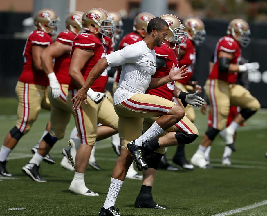 Colin Kaepernick (front and center) is clearly the offense's main man, and more is expected of him in his second full season as starter. Photo: Brant Ward, San Francisco Chronicle