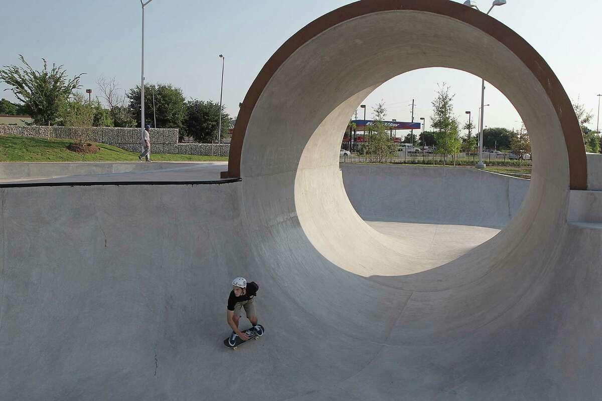 Sammy Hill skates at the 78,000 square foot Spring Skatepark on opening day Thursday, Aug. 14, 2014, in Houston. ( James Nielsen / Houston Chronicle )
