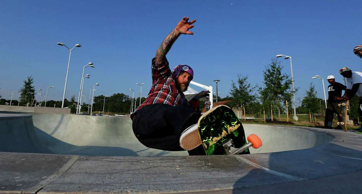 Doug Lejeune skates at the 78,000- square-foot Spring Skatepark on opening day Thursday. The park is the largest of its kind in North America and among the world's biggest.