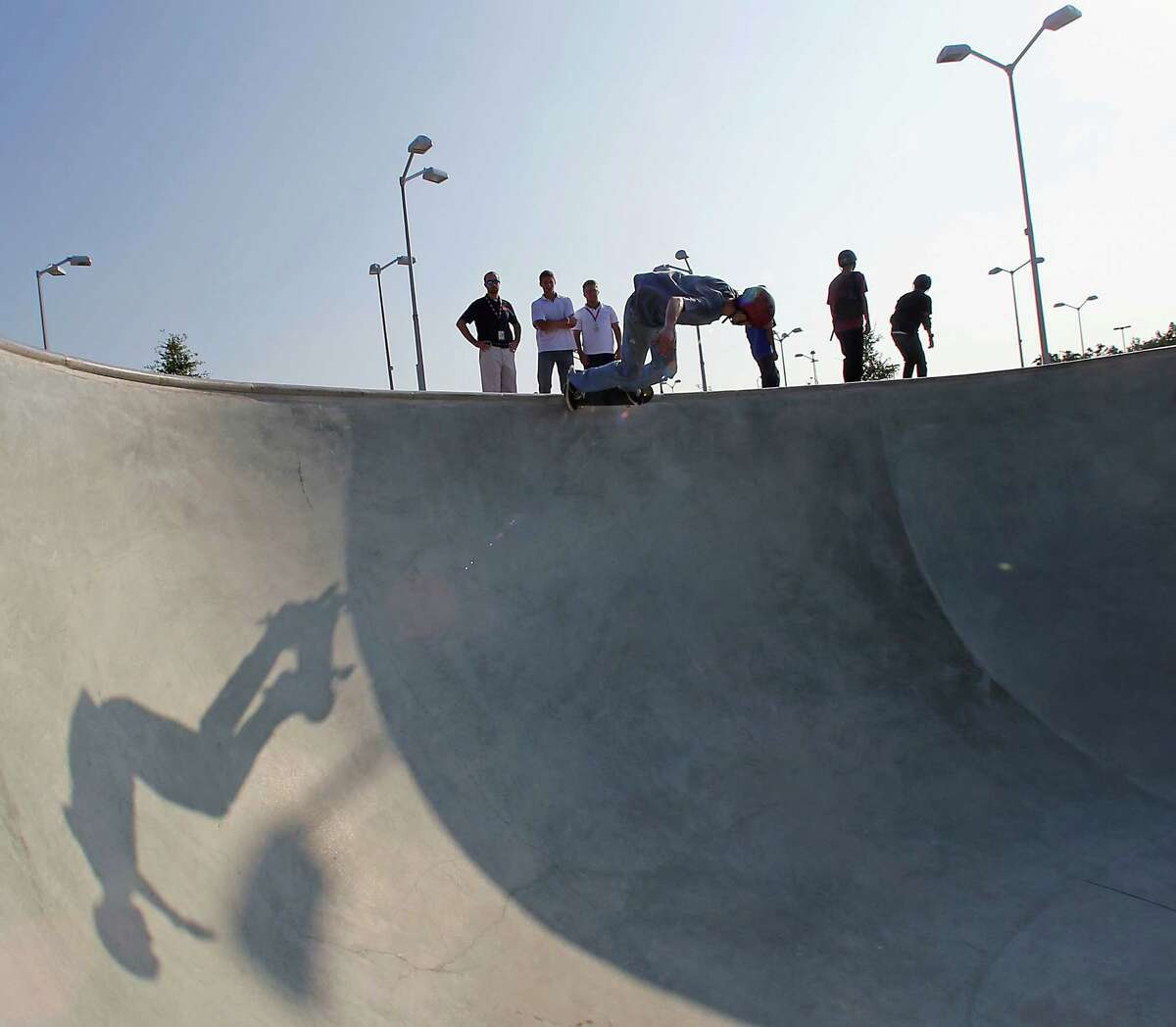 Seth Spain skates at the 78,000 square foot Spring Skatepark on opening day Thursday, Aug. 14, 2014, in Houston. ( James Nielsen / Houston Chronicle )