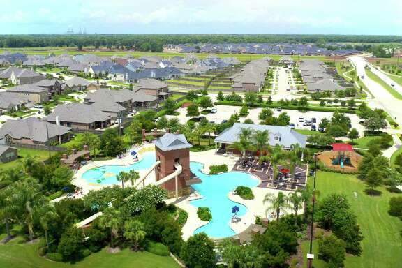 This is a view from a remote-controlled aircraft of the Sienna Springs Resort Pool in the Fort Bend County master-planned Sienna Plantation community.