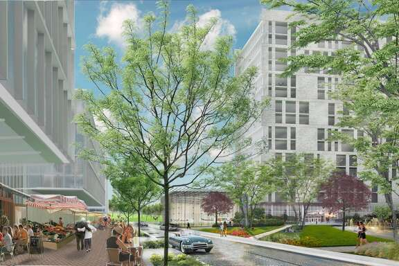 Rendering of the Ivy District, planned for a Pearland site at Texas 288 and Beltway 8. It will include residential, office and retail, as well as a hotel, conference center and community building.