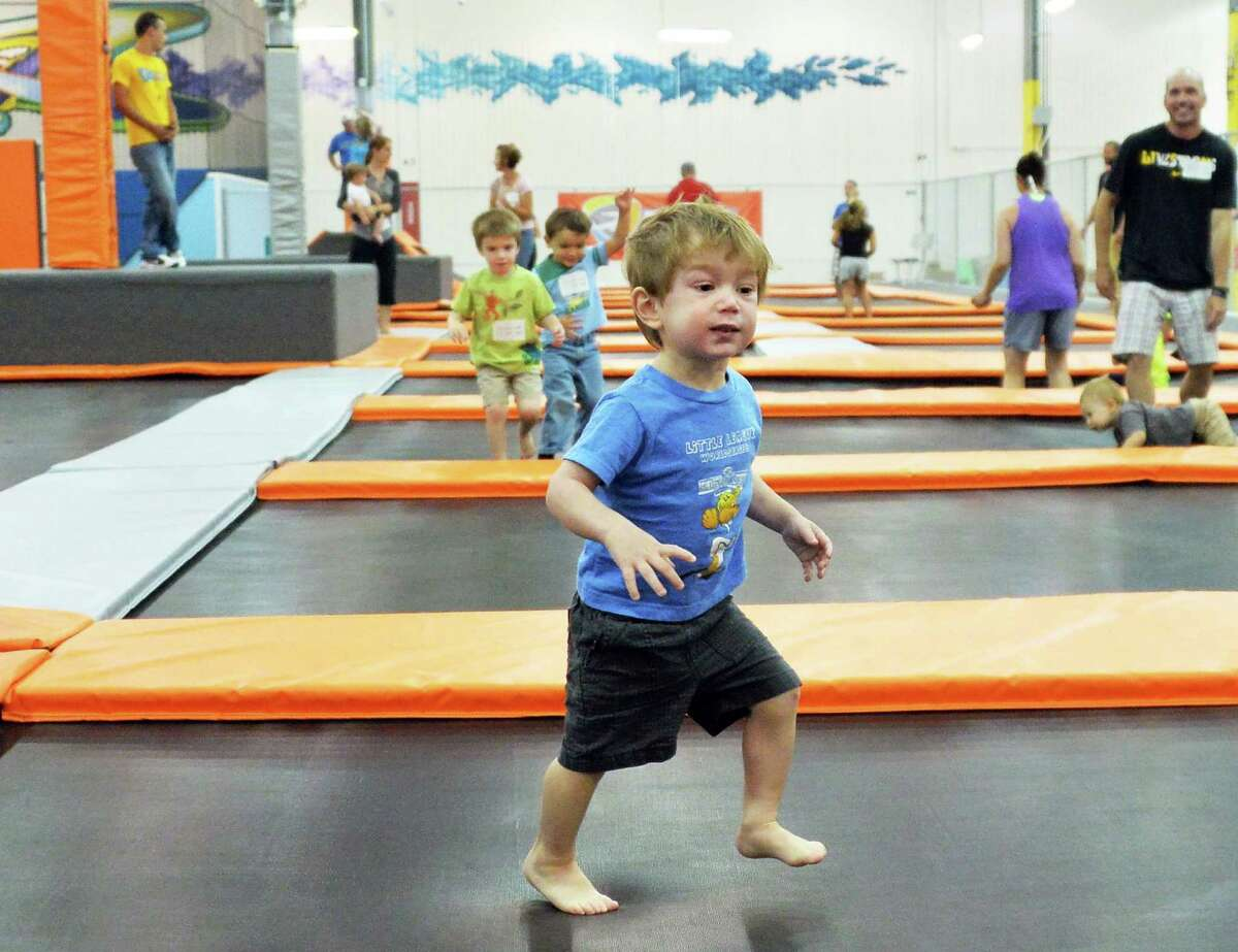 One-year-old Gavin Farrow of Niskayuna plays at Flight Trampoline Park Wednesday Aug. 13, 2014, in Albany, N.Y. (John Carl D'Annibale / Times Union)