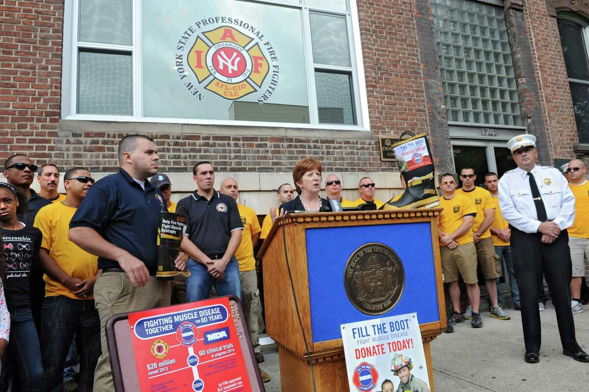 Albany Mayor Kathy Sheehan announces her support in the kickoff for the firefighters' annual Fill the Boot fundraising campaign to benefit Muscular Dystrophy Association at the New York State Professional Fire Fighters Association Building on Thursday, Aug. 14, 2014 in Albany, N.Y. (Lori Van Buren / Times Union)