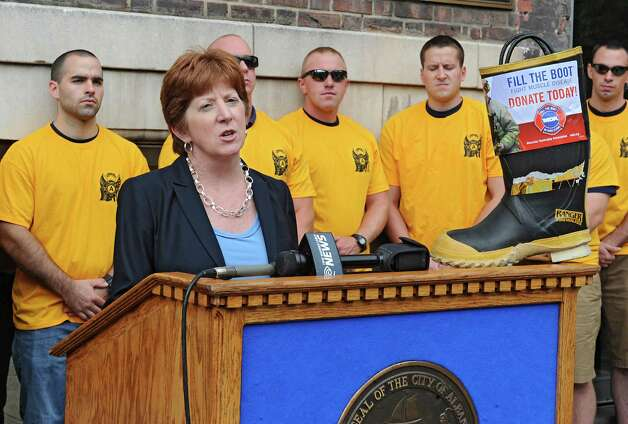 Albany Mayor Kathy Sheehan announces her support in the kickoff for the firefighters' annual Fill the Boot fundraising campaign to benefit Muscular Dystrophy Association at the New York State Professional Fire Fighters Association Building on Thursday, Aug. 14, 2014 in Albany, N.Y. (Lori Van Buren / Times Union) Photo: Lori Van Buren / 00028108A