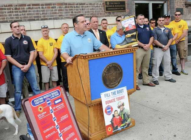New York State Professional Fire Fighters Association Secretary Treasurer Sam Fresina speaks during a kickoff for the firefighters' annual Fill the Boot fundraising campaign to benefit Muscular Dystrophy Association at the New York State Professional Fire Fighters Association Building on Thursday, Aug. 14, 2014 in Albany, N.Y. (Lori Van Buren / Times Union) Photo: Lori Van Buren / 00028108A