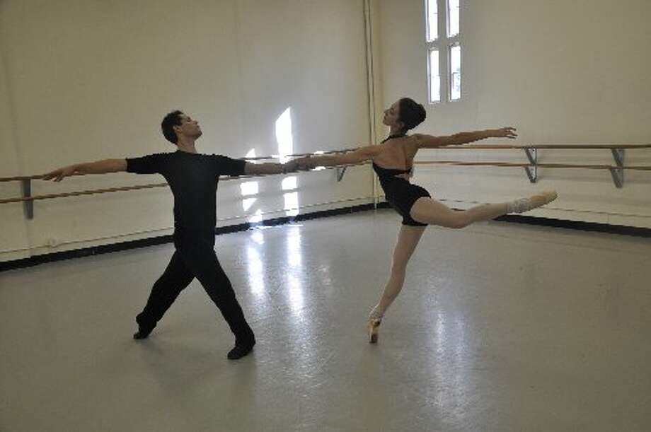 "Yosvani Cortellan and Sally Turkel rehearse a contemporary piece that shares the bill with ""The Firebird"" for Ballet San Antonio. Photo: Courtesy Photo"