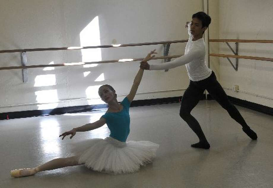 "Ballet San Antonio dancers Sarah Pautz and Jayson Pescasio rehearse ""The Firebird."" Photo: Courtesy Photo"