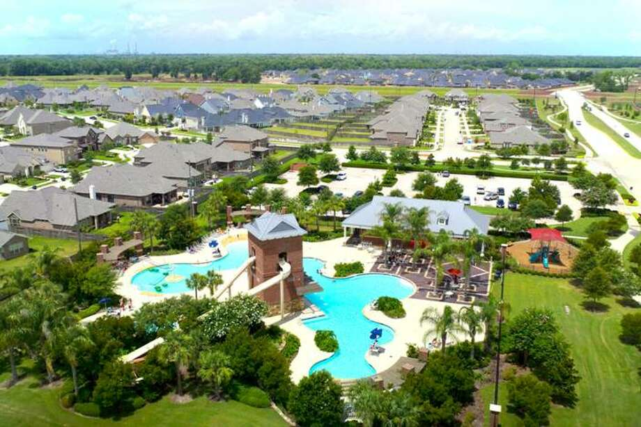 A view of the Sienna Springs Resort Pool in Sienna Plantation as taken from the ultra-quiet quad copter used to capture new aerial footage of the Fort Bend master-planned community. Photo: Johnson Development Corp