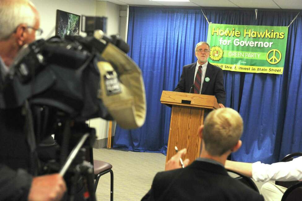 Howie Hawkins, the Green Party candidate for Governor, speaks during a news conference Thursday Aug.14, 2014, at the Legislative Office Building in Albany, N.Y. (Michael P. Farrell/Times Union)
