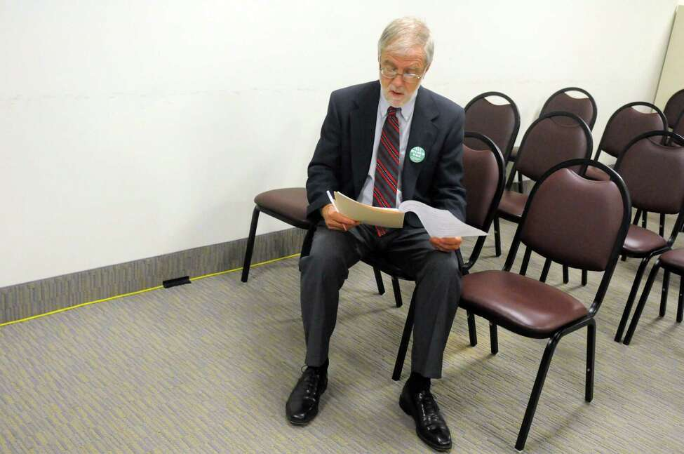 Howie Hawkins, the Green Party candidate for Governor, prepares for a news conference on Thursday Aug.14, 2014, at the Legislative Office Building in Albany, N.Y. (Michael P. Farrell/Times Union)