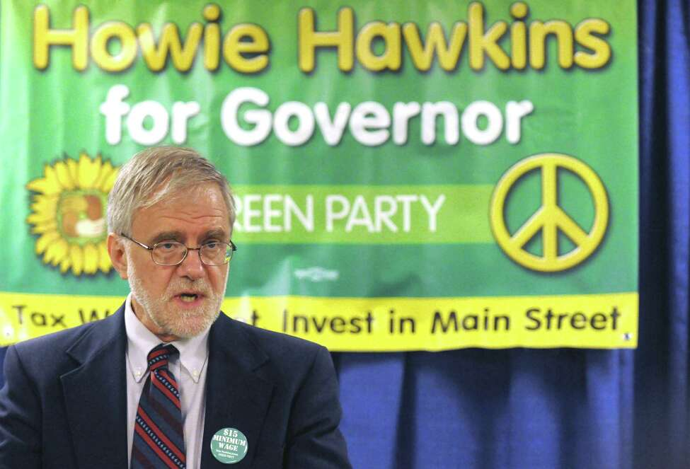 Howie Hawkins, the Green Party candidate for governor, speaks during a news conference where he accused Gov. Andrew Cuomo of failing to convene a minimum wage board despite post-Moreland press release indicating that he was taking action to help food-tip minimum wage workers Thursday Aug.14, 2014, at the Legislative Office Building in Albany, N.Y. (Michael P. Farrell/Times Union)