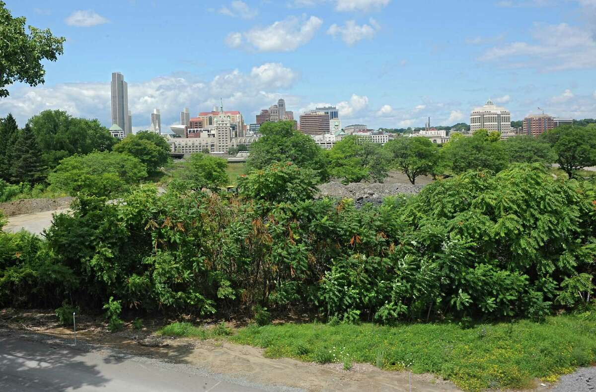 View of the city of Albany from across the river at De Laet's Landing on Thursday, Aug. 14, 2014 in Rensselaer, N.Y. Casino developers are promising the city of Albany $10 million over ten years if a Hard Rock Casino is built on this site. (Lori Van Buren / Times Union)