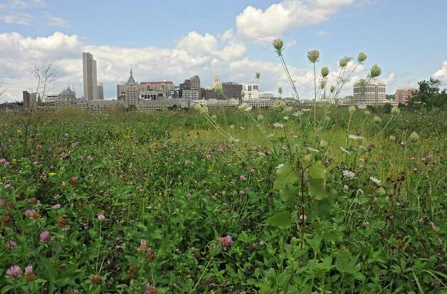 View of the city of Albany from across the river at De Laet's Landing on Thursday, Aug. 14, 2014 in Rensselaer, N.Y. Casino developers are promising the city of Albany $10 million over ten years if a Hard Rock Casino is built on this site. (Lori Van Buren / Times Union) Photo: Lori Van Buren / 00028185A