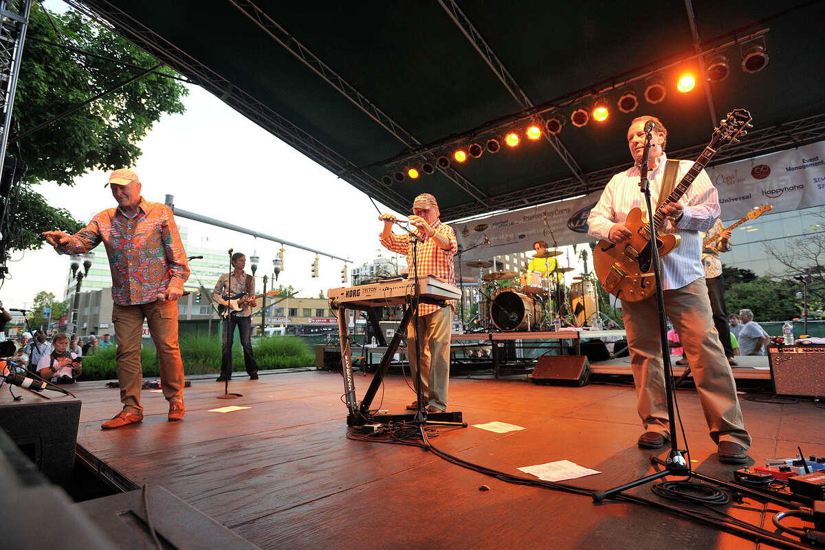 The Beach Boys performs on stage during Alive@Five in Columbus Park in Stamford, Conn., on Thursday, Aug. 14, 2014.