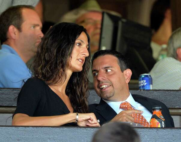 Maria and Michael Repole enjoy a fun moment in the clubhouse of the Saratoga Race Course Aug. 13, 2014, in Saratoga Springs, N.Y. (Skip Dickstein/Times Union) Photo: SKIP DICKSTEIN