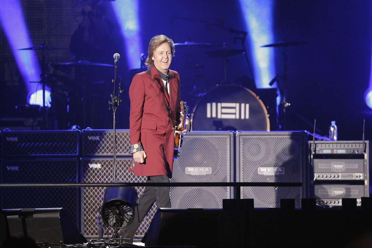 Paul McCartney greets the audience at the start of his farewell Candlestick Park show to a sold out crowd on Thursday Aug. 14, 2014 in San Francisco, Calif.