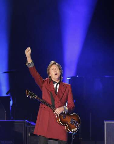 Paul McCartney greets the audience at the start of his farewell Candlestick Park show to a sold out crowd on Thursday Aug. 14, 2014 in San Francisco, Calif. Photo: Mike Kepka