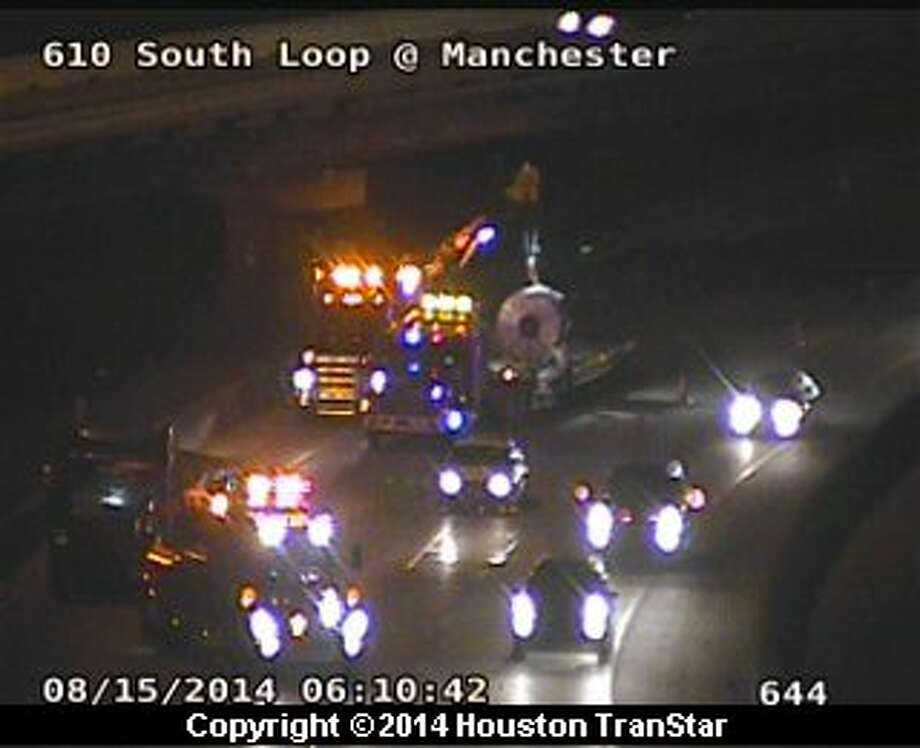 Traffic was snarled early Friday morning after a crash on the East Loop in southeast Houston