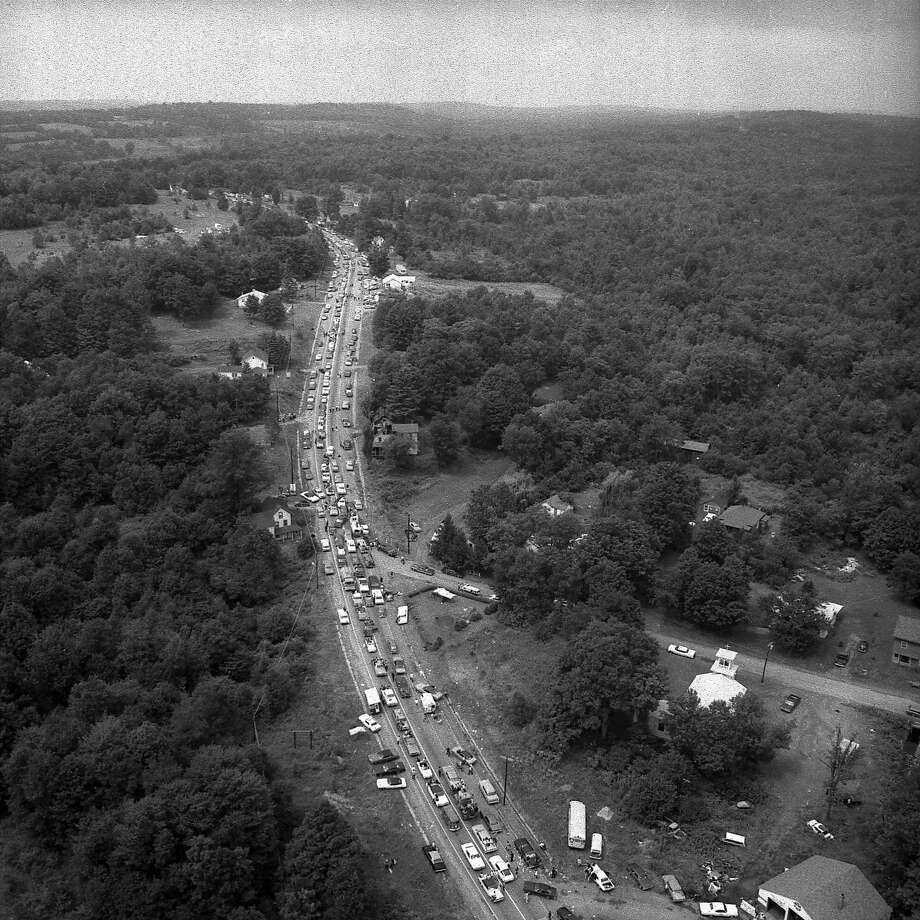 Jammed cars are seen on Rt. 17B near the Woodstock Festival in Bethel, N.Y., on August 16, 1969.  (AP Photo) Photo: ASSOCIATED PRESS / AP1969